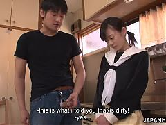 Asian cuttie cleaning her stepbrother's erect boner