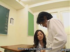 Asian teacher toy fucking the teen who is a sexbomb